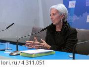 Купить «Кристин Лагард (Christine Madeleine Odette Lagarde) - директор-распорядитель Международного валютного фонда (МВФ) на пресс-конференции посвященной предстоящему саммиту G20», фото № 4311051, снято 16 февраля 2013 г. (c) Игорь Долгов / Фотобанк Лори