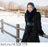 Купить «Симпатичная девушка возле деревянного забора зимой», эксклюзивное фото № 4328175, снято 20 февраля 2013 г. (c) Игорь Низов / Фотобанк Лори