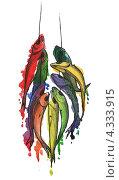 Рыбы на крючке. Рисунок акварельными красками. Стоковая иллюстрация, иллюстратор Ольга Алексеева / Фотобанк Лори