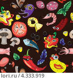 Ингредиенты для пиццы на черном фоне. Стоковая иллюстрация, иллюстратор Ольга Алексеева / Фотобанк Лори