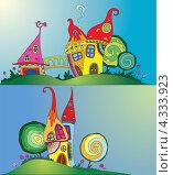 Разноцветные волшебные дома. Стоковая иллюстрация, иллюстратор Ольга Алексеева / Фотобанк Лори