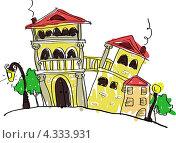 Рисунок старинных домов. Стоковая иллюстрация, иллюстратор Ольга Алексеева / Фотобанк Лори