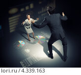 Купить «Злой начальник и стресс на работе. Большой мужчина в костюме расставив руки, нападает на бизнес-леди», фото № 4339163, снято 23 июня 2018 г. (c) Sergey Nivens / Фотобанк Лори