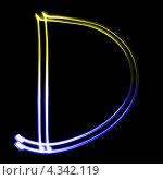 Купить «Светящаяся латинская буква D», фото № 4342119, снято 18 февраля 2013 г. (c) Роман Сигаев / Фотобанк Лори