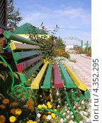 Скамейка для отдыха среди цветов. Стоковое фото, фотограф Ворошилова Анна / Фотобанк Лори