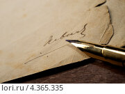 Купить «Подпись на старой бумаге», фото № 4365335, снято 17 июня 2011 г. (c) Andrejs Pidjass / Фотобанк Лори