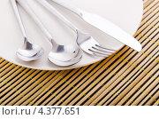 Купить «Белая тарелка со столовыми приборами на бамбуковой салфетке», фото № 4377651, снято 12 сентября 2011 г. (c) Elnur / Фотобанк Лори