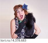 Удивленная женщина в ретро одежде. Стоковое фото, фотограф Andrey Politov / Фотобанк Лори