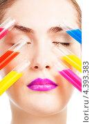 Купить «Лицо красивой девушки и пробирки с разноцветными жидкостями», фото № 4393383, снято 30 января 2013 г. (c) Сергей Новиков / Фотобанк Лори