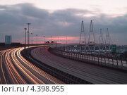 Купить «Санкт-Петербург. КАД развязка у Вантового моста», эксклюзивное фото № 4398955, снято 16 февраля 2013 г. (c) Литвяк Игорь / Фотобанк Лори