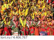 Купить «Группа индийских девушек в красочной этнической одежде», фото № 4406767, снято 21 ноября 2012 г. (c) Михаил Коханчиков / Фотобанк Лори