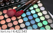 Купить «Крупные кисти для макияжа на косметической палитре», видеоролик № 4422543, снято 19 марта 2013 г. (c) Кекяляйнен Андрей / Фотобанк Лори