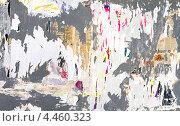 Купить «Доска для объявлений с обрывками старых плакатов и газет», фото № 4460323, снято 22 июля 2018 г. (c) EugeneSergeev / Фотобанк Лори