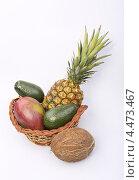 Фрукты в корзине,ананас,манго,авокадо,кокос. Стоковое фото, фотограф Алиев Игорь Геннадьевич / Фотобанк Лори