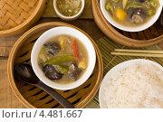 Купить «Китайский овощной суп с рисом», фото № 4481667, снято 6 апреля 2013 г. (c) Eve Voevoda / Фотобанк Лори
