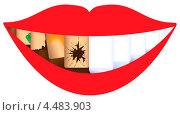 Рот с половиной отличных и половиной больных зубов. Стоковая иллюстрация, иллюстратор Диана Гарифуллина / Фотобанк Лори