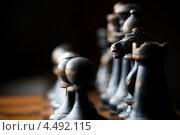 Деревянные шахматы, черные фигуры на доске. Стоковое фото, фотограф Георгий Курятов / Фотобанк Лори