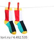 Купить «Разноцветные полосатые носки, висящие на бельевой веревке», фото № 4492535, снято 16 марта 2012 г. (c) Paleka / Фотобанк Лори