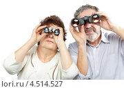 Купить «Пожилая пара смотрит через бинокль», фото № 4514527, снято 17 ноября 2011 г. (c) Losevsky Pavel / Фотобанк Лори