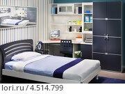 Купить «Интерьер спальни в серо-голубых тонах», фото № 4514799, снято 21 ноября 2011 г. (c) Losevsky Pavel / Фотобанк Лори