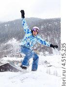 Купить «Сноубордист в прыжке», фото № 4515235, снято 14 февраля 2012 г. (c) Losevsky Pavel / Фотобанк Лори