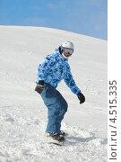 Купить «Сноубордист на склоне», фото № 4515335, снято 16 февраля 2012 г. (c) Losevsky Pavel / Фотобанк Лори