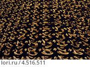 Купить «Черный театральный занавес с золотистым узором», фото № 4516511, снято 24 июля 2011 г. (c) Losevsky Pavel / Фотобанк Лори