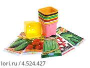 Купить «Цветные горшки и семена для рассады», эксклюзивное фото № 4524427, снято 15 апреля 2013 г. (c) Юрий Морозов / Фотобанк Лори