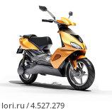 Купить «Оранжевый скутер на белом фоне», иллюстрация № 4527279 (c) Алексей Варлаков / Фотобанк Лори