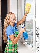 Купить «Девушка моет окно», фото № 4546451, снято 22 марта 2013 г. (c) Гладских Татьяна / Фотобанк Лори