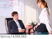 Купить «Секретарша соблазняет начальника в офисе», фото № 4555563, снято 13 марта 2013 г. (c) Сергей Петерман / Фотобанк Лори