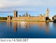 Купить «Вестминстерский дворец с башней Елизаветы. Вид через реку Темзу», фото № 4560087, снято 3 ноября 2012 г. (c) Дмитрий Наумов / Фотобанк Лори