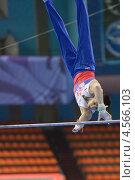 Купить «Эмин Гарибов выполняет упражнение на перекладине на Чемпионате Европы по спортивной гимнастике», фото № 4566103, снято 21 апреля 2013 г. (c) Stockphoto / Фотобанк Лори