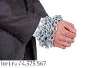 Купить «Руки бизнесмена, скованные цепью», фото № 4575567, снято 6 мая 2012 г. (c) Андрей Попов / Фотобанк Лори