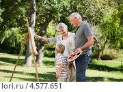 Купить «Бабушка и дедушка учат маленького внука рисовать на мольберте в парке», фото № 4577651, снято 9 ноября 2010 г. (c) Wavebreak Media / Фотобанк Лори