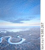 Купить «Вид сверху на лес с рекой зимой», фото № 4580267, снято 20 января 2012 г. (c) Владимир Мельников / Фотобанк Лори