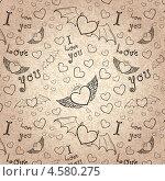 Купить «Рисунки сердечек на абстрактном коричневом фоне», фото № 4580275, снято 21 ноября 2018 г. (c) Елена Архангельская / Фотобанк Лори
