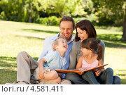 Купить «Счастливая семья рассматривает фотоальбом, сидя на траве в летнем парке», фото № 4581411, снято 10 ноября 2010 г. (c) Wavebreak Media / Фотобанк Лори