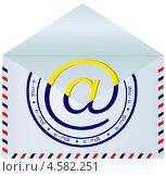 Почтовый конверт со значком электронной почты. Стоковая иллюстрация, иллюстратор Александр Лукьянов / Фотобанк Лори
