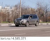 Купить «NISSAN X-TRAIL мчится по дороге», фото № 4585371, снято 29 апреля 2013 г. (c) Павел Кричевцов / Фотобанк Лори