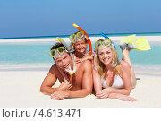 Купить «Семья в ластах и плавательных масках лежит на песке», фото № 4613471, снято 9 января 2013 г. (c) Monkey Business Images / Фотобанк Лори