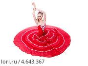 Купить «Танцовщица в ярком красном пышном платье на белом фоне», фото № 4643367, снято 2 марта 2013 г. (c) Elnur / Фотобанк Лори