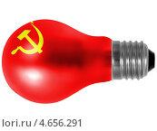 Купить «Флаг СССР, изображенный на матовой лампе накаливания», фото № 4656291, снято 17 июня 2019 г. (c) Клинц Алексей / Фотобанк Лори