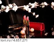 2 тюбика помады и ветка с цветочками на. Стоковое фото, фотограф Елена Заммоева / Фотобанк Лори