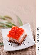 Аппетитная закуска с лососем и красной икрой. Стоковое фото, фотограф Максим Шебеко / Фотобанк Лори