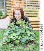 Купить «Девушка выращивает клубнику», фото № 4664923, снято 24 мая 2013 г. (c) Надежда Глазова / Фотобанк Лори