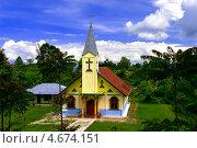 Христианская церковь Huta Hotang. Индонезия. Стоковое фото, фотограф Nikolay Grachev / Фотобанк Лори
