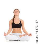 Купить «Стройная девушка в спортивной одежде выполняет упражнения на белом фоне. Фитнес.», фото № 4677167, снято 17 апреля 2013 г. (c) Мельников Дмитрий / Фотобанк Лори