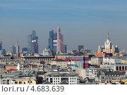 Купить «Москва, вид с центральной части города на бизнес центр Москва-сити на горизонте», фото № 4683639, снято 9 мая 2013 г. (c) Игорь Долгов / Фотобанк Лори