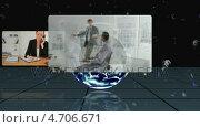 Купить «Videos of business people scroll in front of the earth with Earth image courtesy of Nasa.org», видеоролик № 4706671, снято 29 мая 2020 г. (c) Wavebreak Media / Фотобанк Лори
